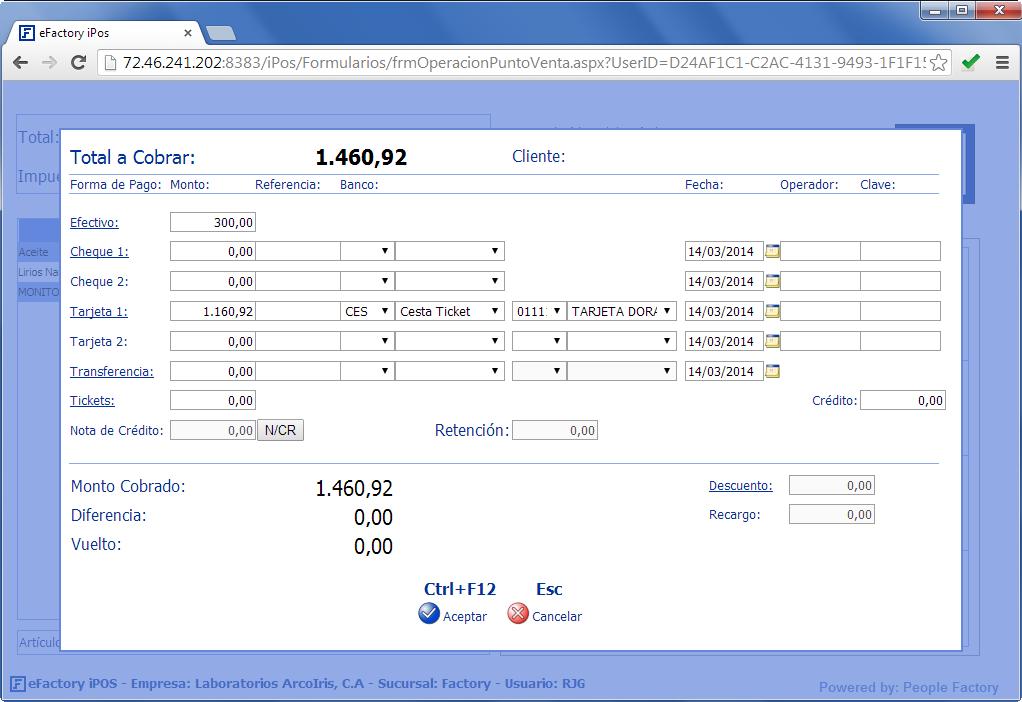 eFactory Punto de Ventas: Cobro de la Venta - Productos Web de eFactory: ERP/CRM, Nómina, Contabilidad, Punto de Venta, Productos para Móviles y Tabletas