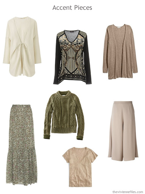 seven wardrobe Accent Pieces in ivory, sage green, taupe and black