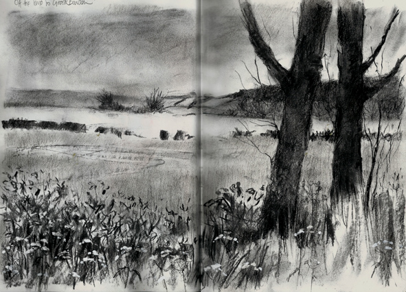 40 Beautiful Illustrations Of Charcoal Painting - Bored Art  |Charcoal Drawings Of Landscapes