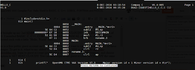 OpenVMS VAX Compiler Fun: Hello World in BASIC, C, C++, COBOL, FORTRAN and PASCAL