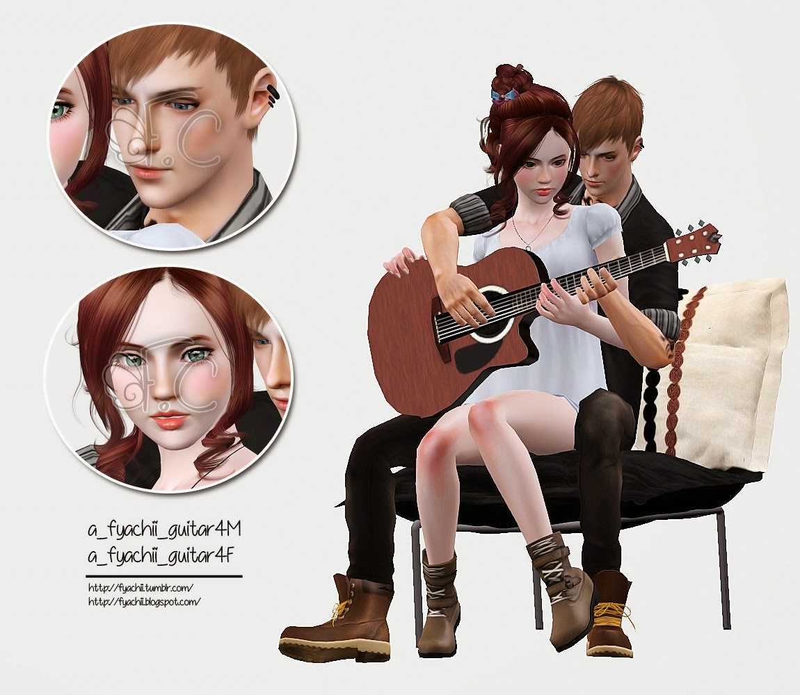Sims 4 Christmas Poses.Fc Guitar Couple Pose Pack Fyachii Sims 3