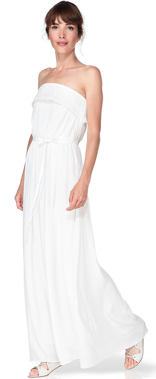 Robe longue bustier blanche Naf Naf