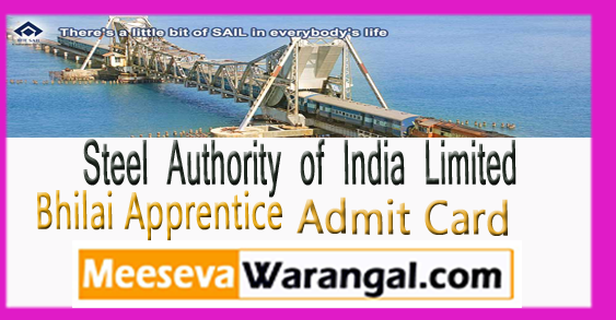 SAIL Bhilai Apprentice Admit Card Exam Date 2017