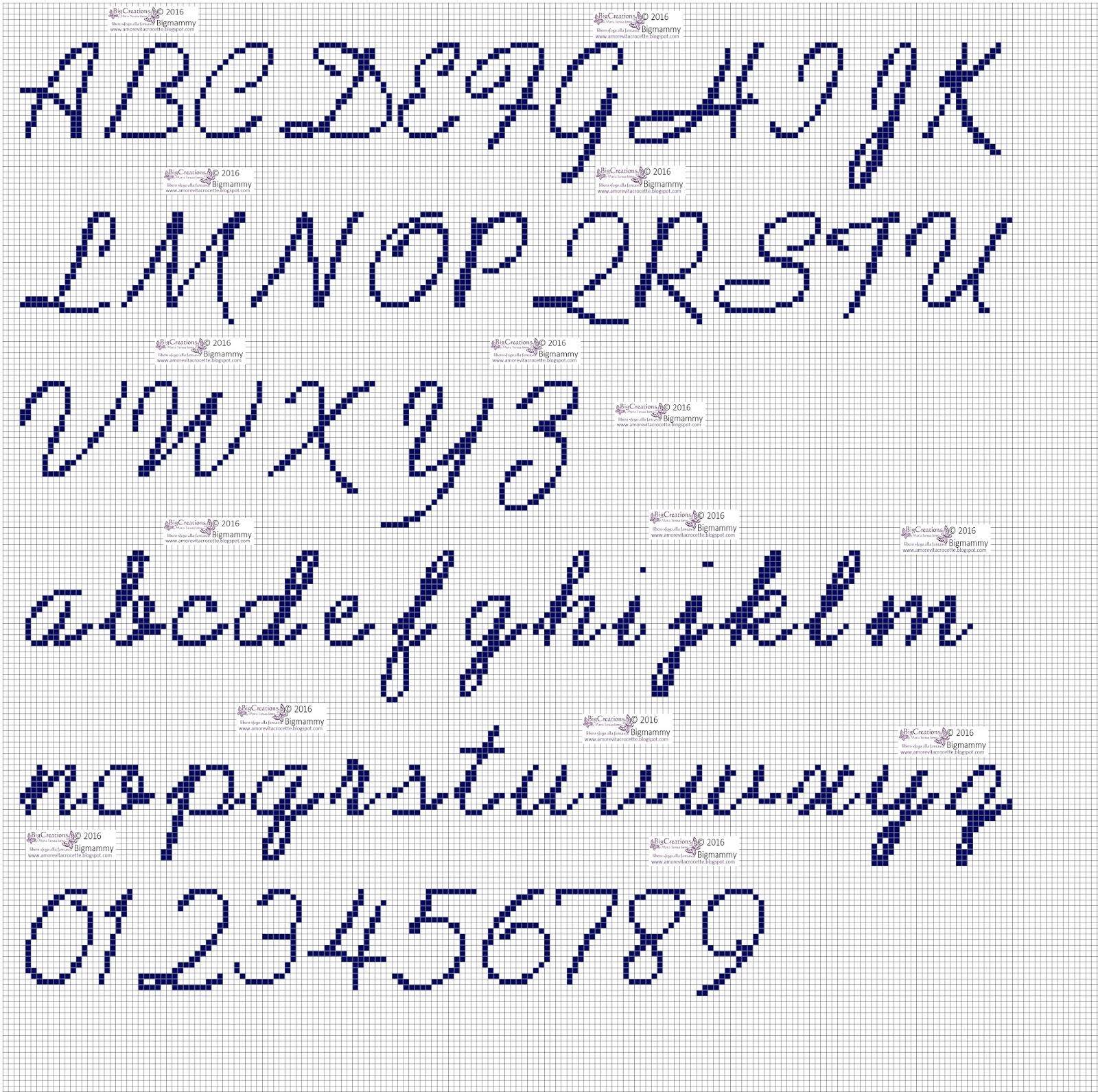 Lettere Alfabeto Corsivo Minuscolo: Amorevitacrocette: Punto Croce Alfabeti In Corsivo