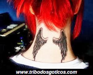 tatto,asas,anjo,pescoço,gotico