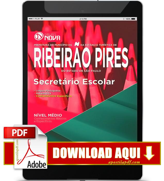 Apostila Prefeitura de Ribeirão Pires SP 2016 Secretário Escolar PDF Download