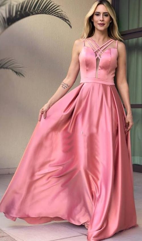 vestido longo rosa  madrinha