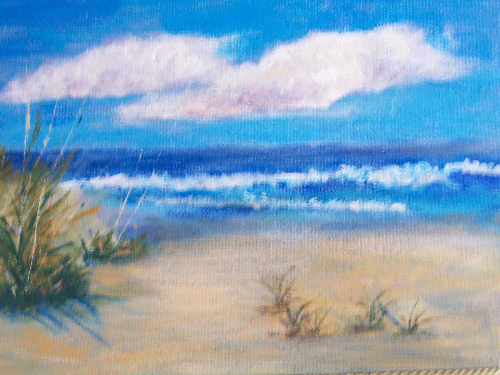 Florida Beach Acrylic 9 X 12 On Canvas Board