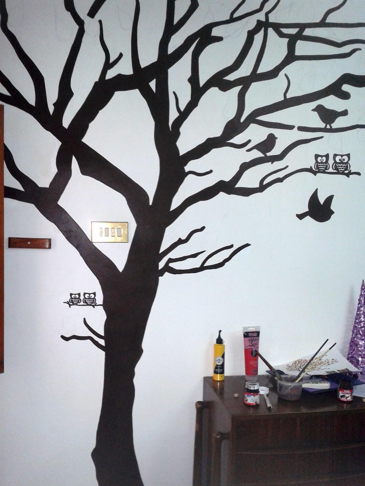 Diy mural rbol con hojas geno dise o arte - Plantillas para dibujar en la pared ...