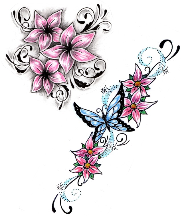 3 Quarter Sleeve Tattoo Ideas Hawaiian Flower Tattoos Inside The