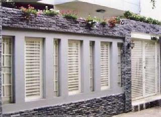 model pagar tembok batu alam alur