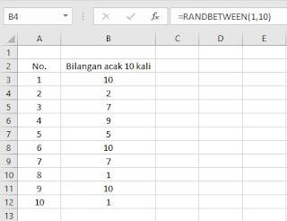 generate bilangan acak dengan excel (=randbetween()) rentang 10