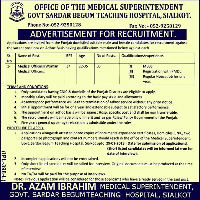 Govt Sardar Begum Teaching Hospital Sialkot Jobs 2019 for Medical Officers