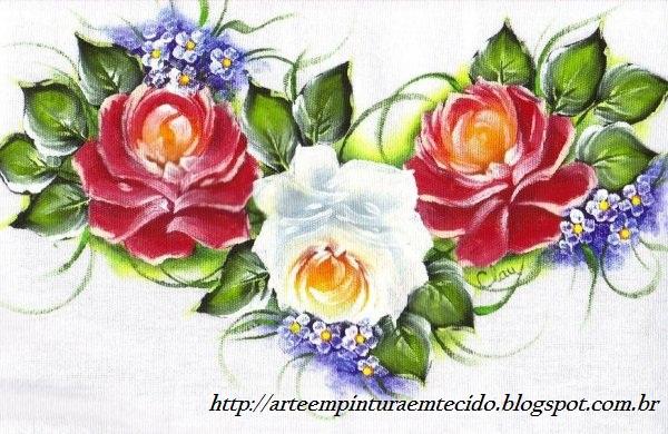 Pintura em tecido ramo rosas
