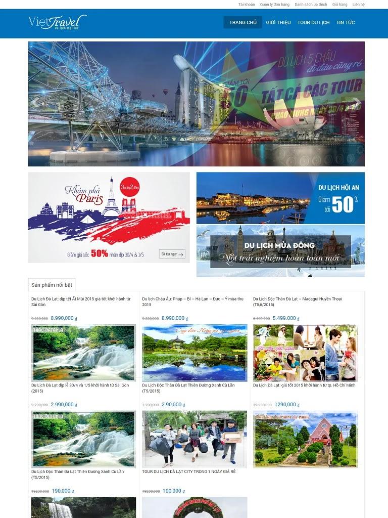 Template blogspot bán tour du lịch đơn giản tinh tế