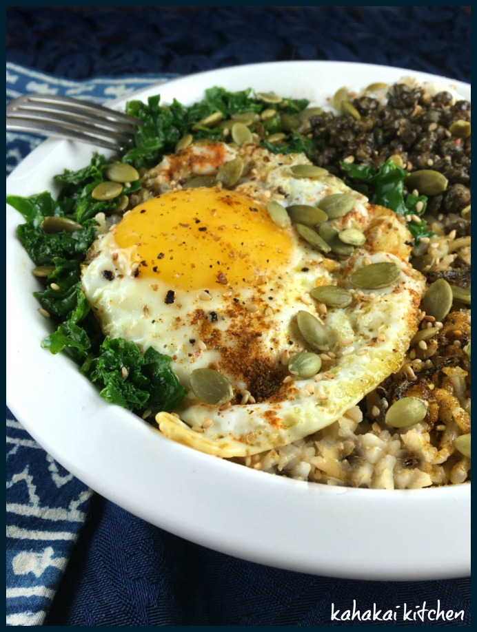 Kahakai Kitchen: Kale Rice Bowl with Egg and Fried Capers