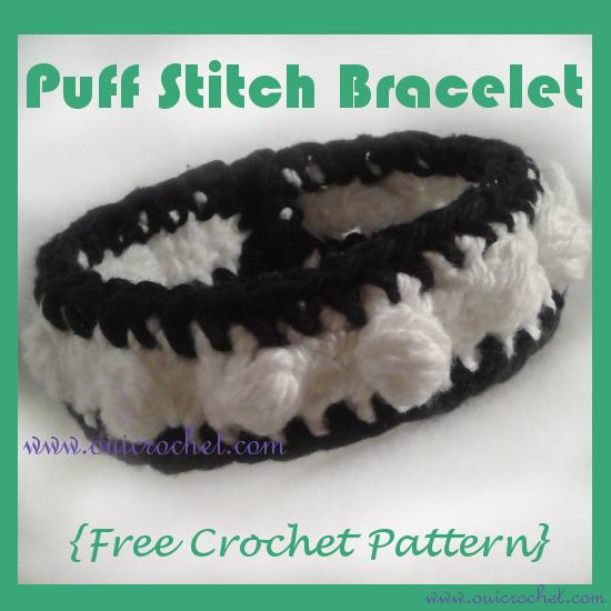 Crochet, Free Crochet Pattern, Crochet Jewelry, Crochet Bracelet, Puff Stitch Bracelet,