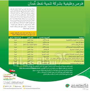 وظائف شركة تنمية نفط عمان وشركات اخرى فى السلطنة
