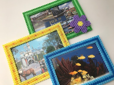 Three Hama bead photo frame designs