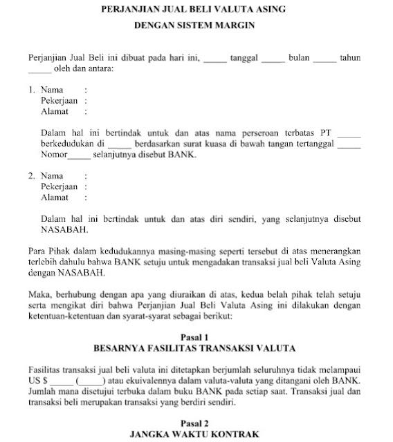 Contoh Surat Perjanjian Jual Beli Valuta Asing (Valas) Format Word