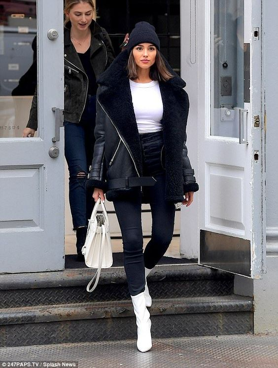 Olivia Culpo White Ankle Boots blogger street style