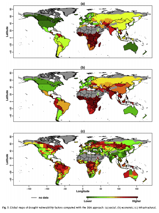 Global maps of drought vulnerability factors computed with the DEA approach: (a) social; (b) economic; (c) infrastructural.