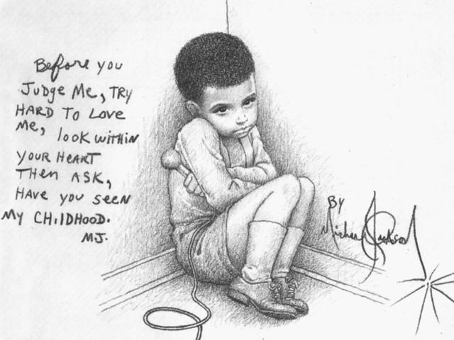 Selvportræt, tegning af Michael Jackson - 'Have you seen my Childhood?'