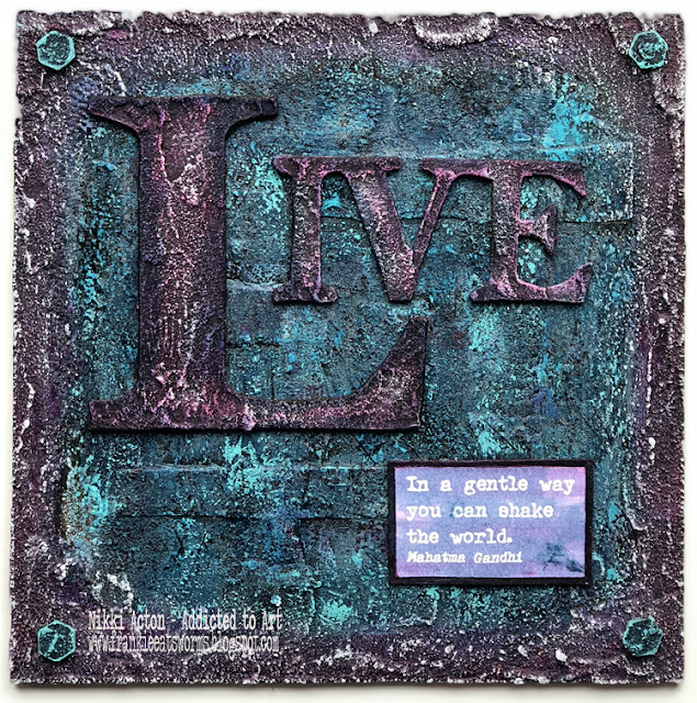 Textured MDF panel featuring PaperArtsy quote stamps by Alison Bomber