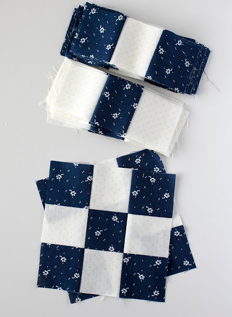 Nine patch blocks - quick using strip piecing
