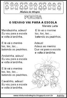 Poesia o menino vai para a escola