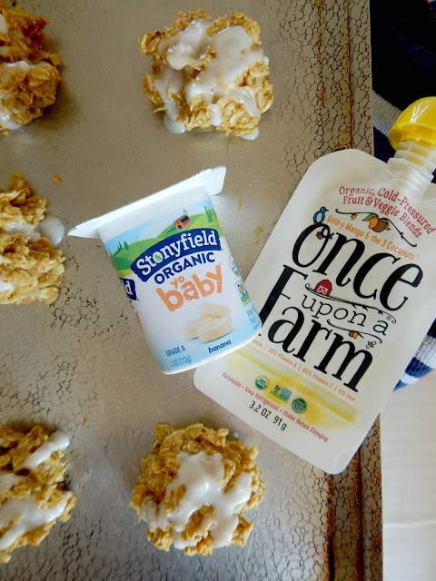 Banana Mango Tropical Breakfast Cookies...a healthy breakfast cookie!  Using both Stonyfield Yobaby yogurt and Once Upon a Farm's cold-pressed fruit pouches, they replace the oil typically used in these cookies.  With the addition of chopped pecans, coconut and a DRIZZLE they make for a quick, breakfast on the go. (sweetandsavoryfood.com)