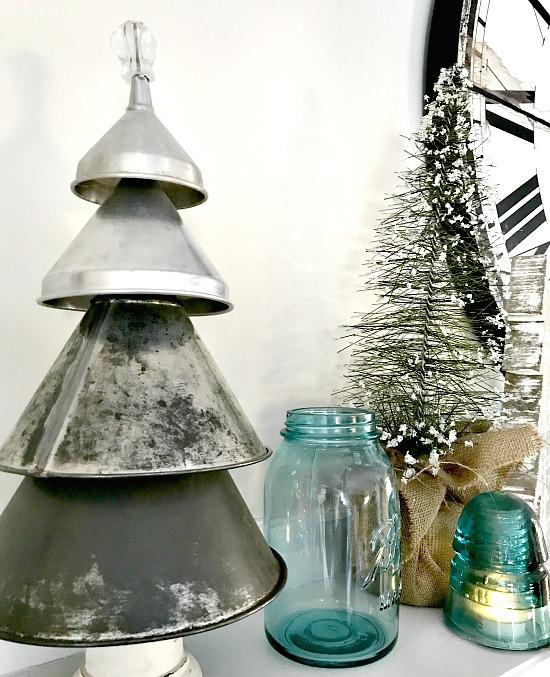 Funnel tree and blue mason jars