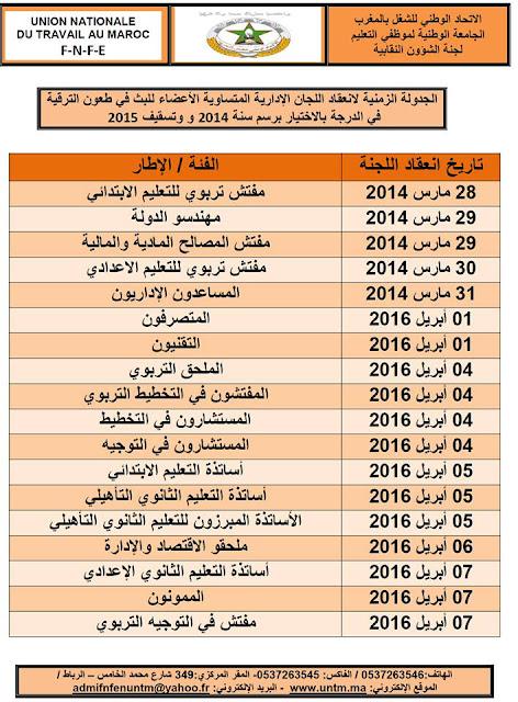 الجدولة الزمنية لانعقاد اللجان الإدارية المتساوية الأعضاء للبث في طعون الترقية في الدرجة بالاختيار برسم سنة 2014 وتسقيف 2015