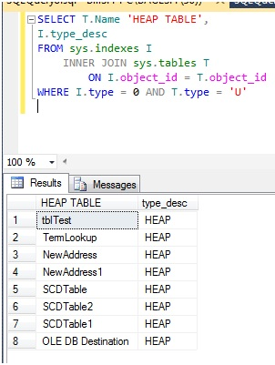 how to create heap table in sql server