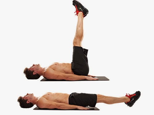 Vertical Leg Crunches: Lie on your back with ankles crossed and extend ...