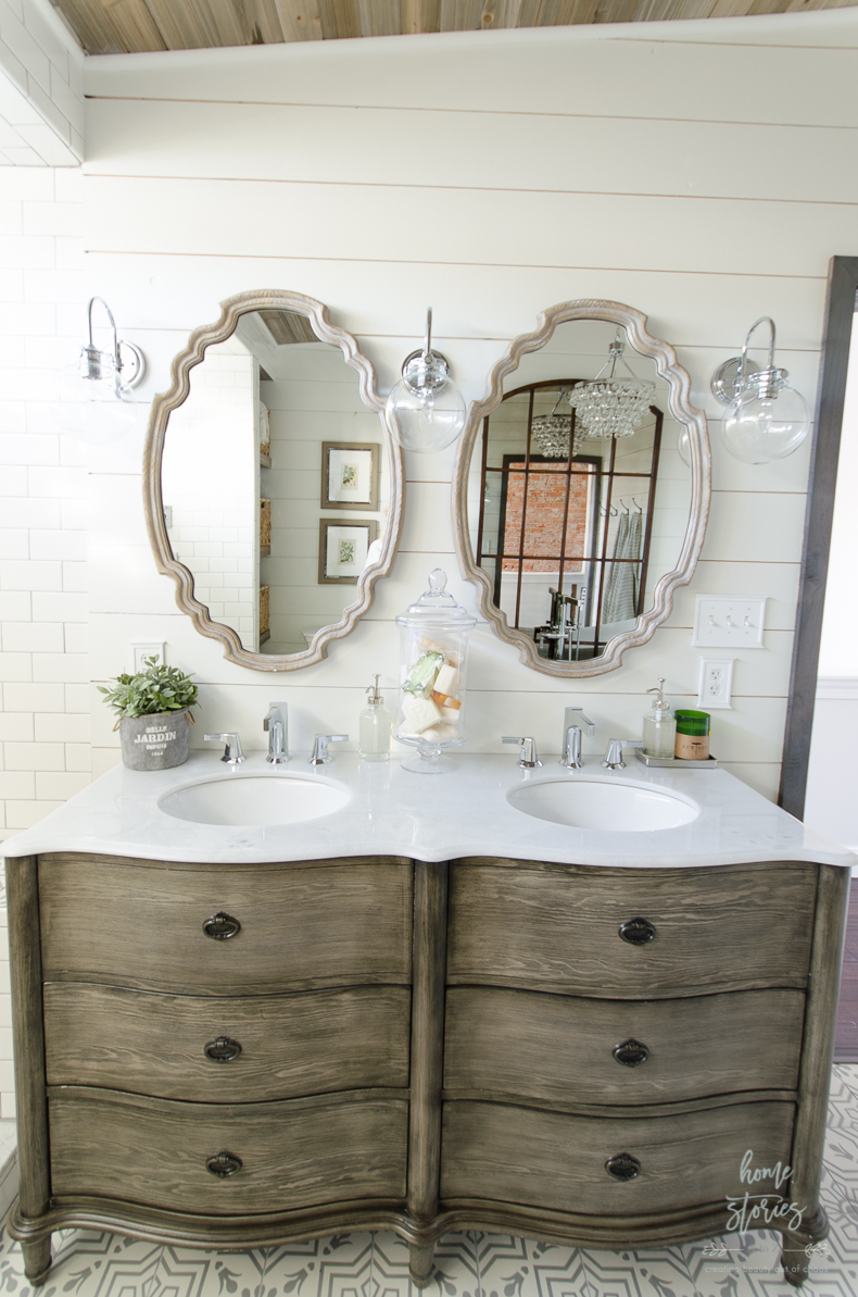 Choose How To Decorate a Bathroom Vanity | Simply ... on Farmhouse Shower Ideas  id=66556