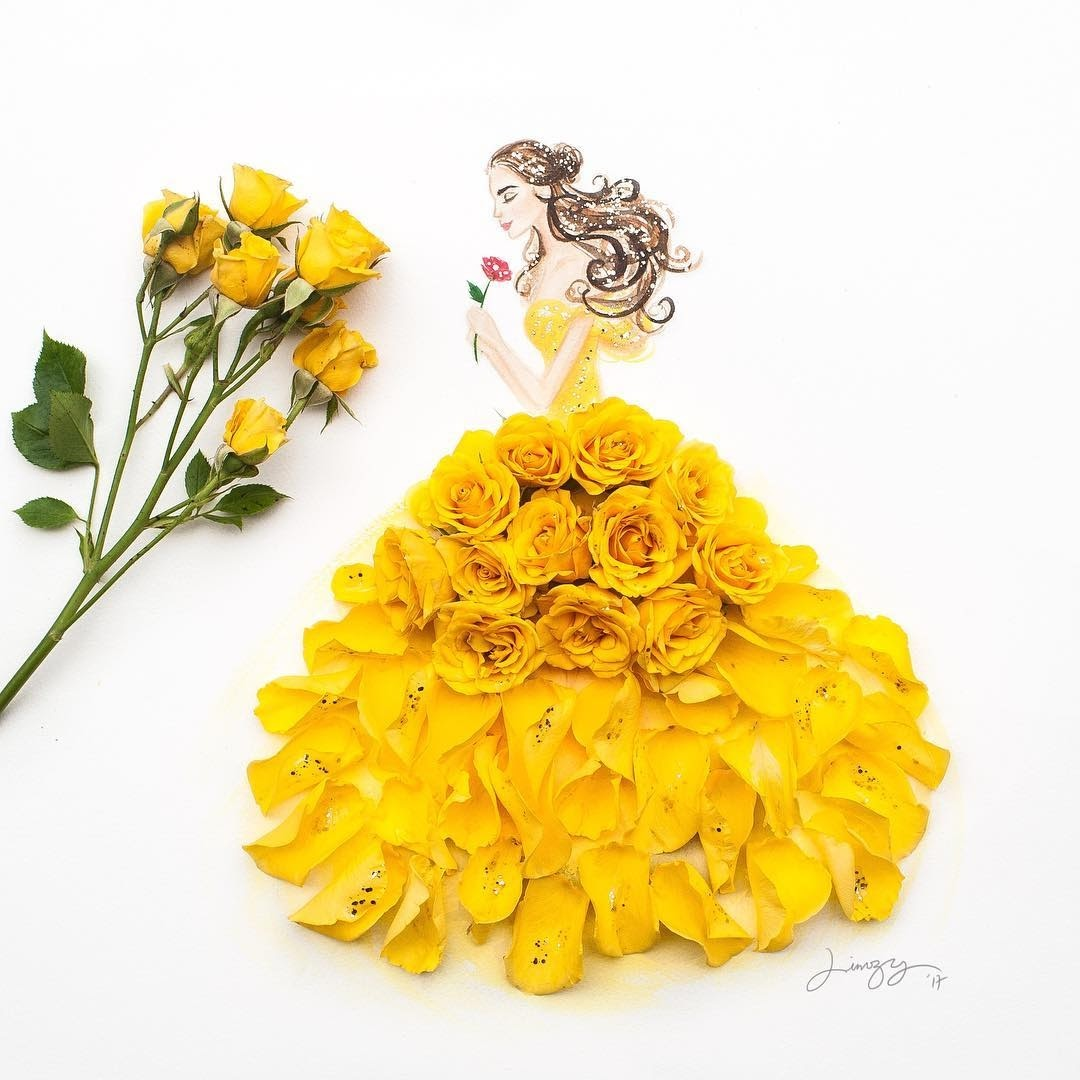 08-Belle-Beauty-and-the-Beast-Limzy-Real-Flowers-in-Drawings-of-Dresses-www-designstack-co