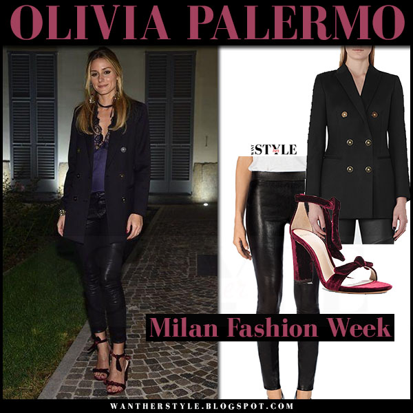 Olivia Palermo in black blazer, leather leggings and red velvet sandals alexandre birman clarita what she wore milan fashion week