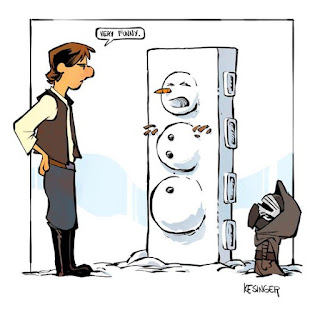 Calvin and Hobbs Kylo Ren as a Kid Makes a Snowman of Han Solo
