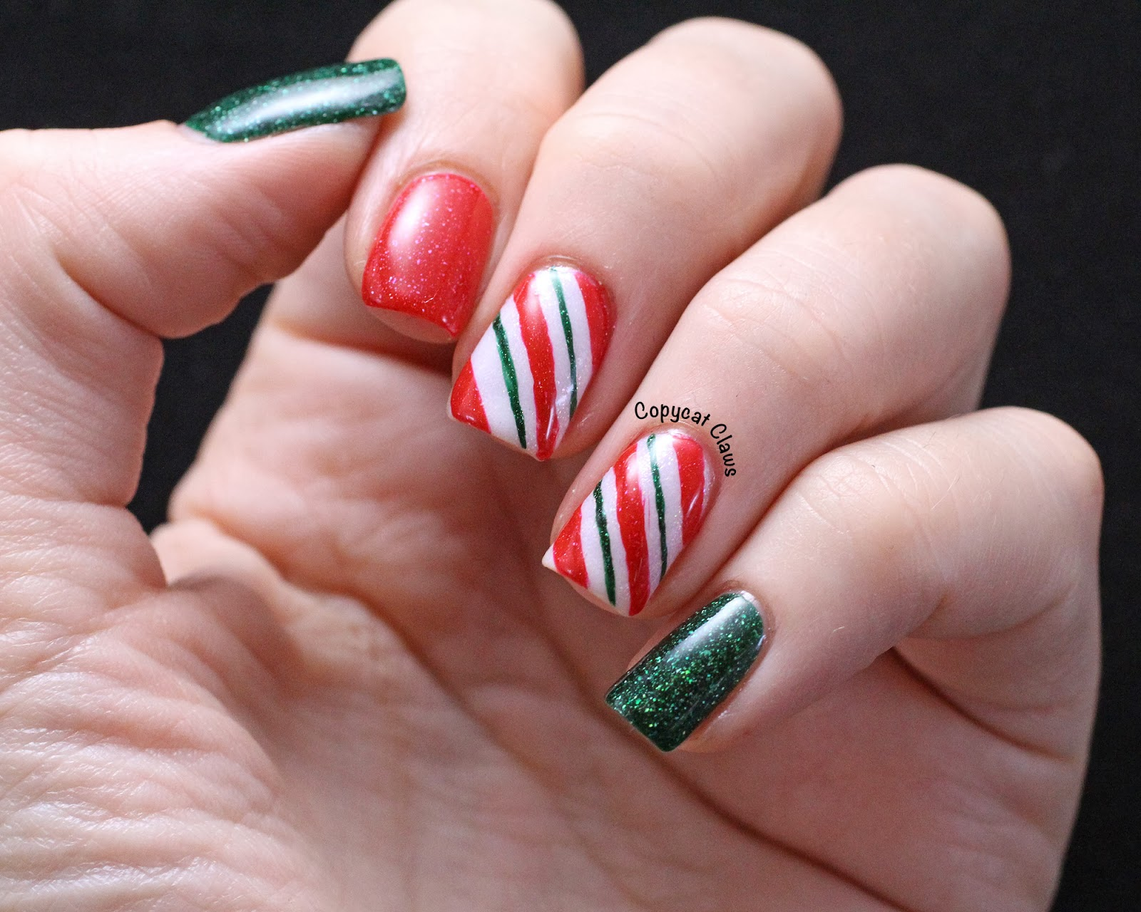Copycat claws picture polish candy cane nail art i did not so bad on this hand if i do say so myself right hand was not quite so great solutioingenieria Images