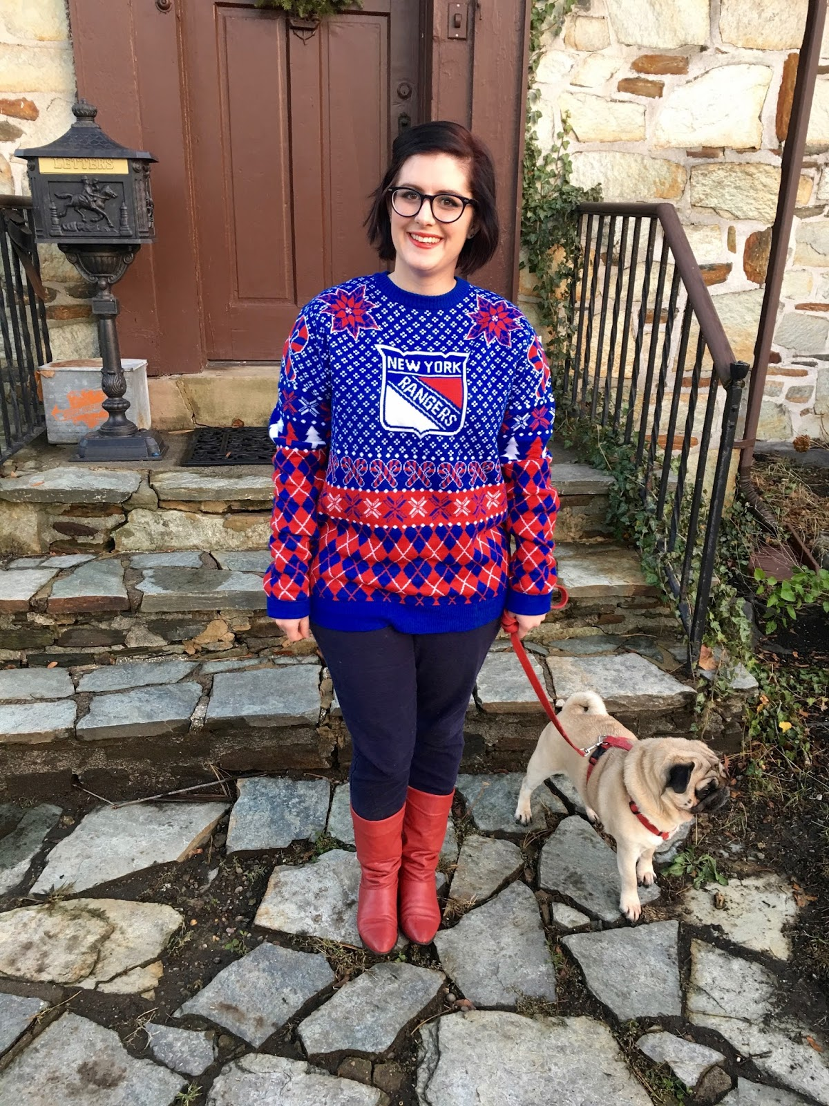 finest selection 15b69 4a975 behind the leopard glasses: let's go Rangers (& ugly sweaters!)