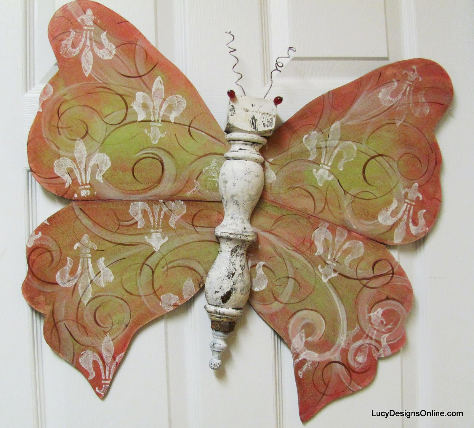 pink fleur de lis table leg butterfly art