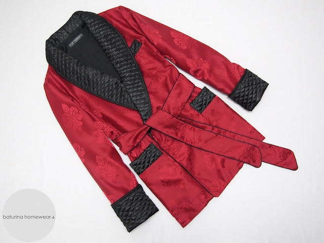 mens modern smoking jacket quilted silk lapel robe warm lined dressing gown gentleman bespoke tailored custom made