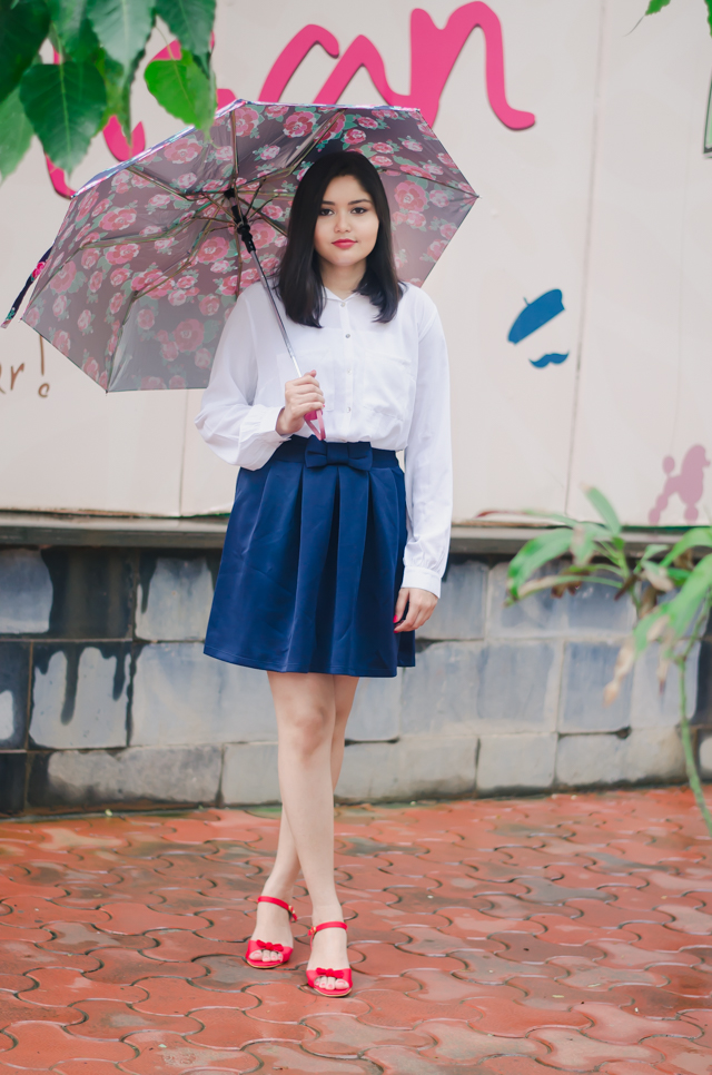 White Button Shirt & Navy Skater Skirt Outfit Inspired by Louisa Clarke