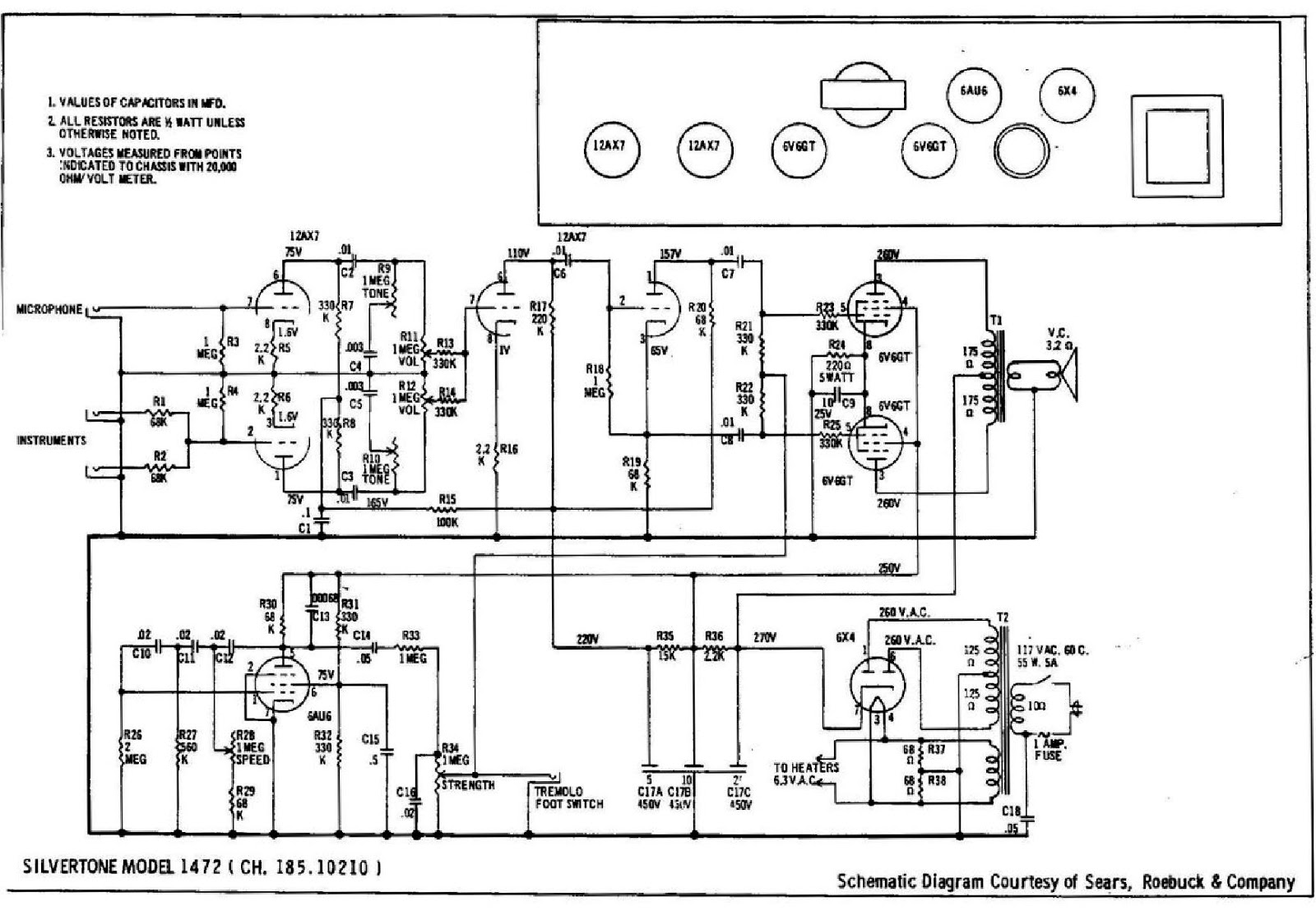 silvertone amp in case schematic