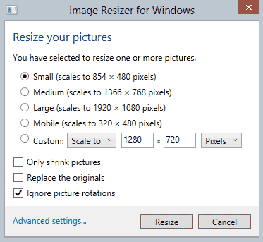 Resize Multiple Images at Once in Windows