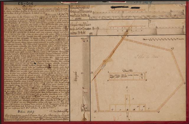 Planta, perfil e fachada que mostra em projeto a fortaleza que se pretende edificar na cabeça da Ilha do Boi, Vitória, ES. 1767.