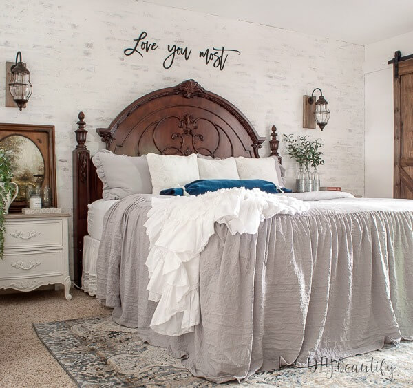 master bedroom with European farmhouse style