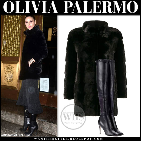 Olivia Palermo wears luxe black fur cara mila coat, grey skirt and black jimmy choo toni leather boots fashion week outfits february 2019