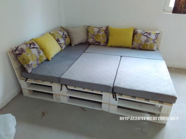 Sof de palets puff y mesa convertibles en cama - Puff convertible cama ...